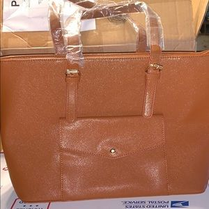 Brown Snap Pocket Tote Bag